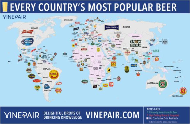 Mapa de cervezas del mundo / Foto: vinepair.com